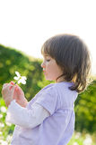 Little girl and blow balls Royalty Free Stock Images