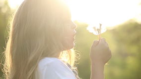 Little girl blow a dandelion. Little cute girl blow a dandelion. Rest at nature stock footage