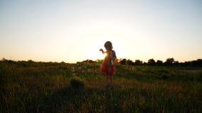 Little girl blow soap bubbles stock video