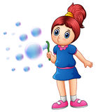 Little girl blowing bubbles stock illustration