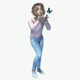 Little girl blowing at butterfly. Little girl standing blowing at butterfly Stock Images