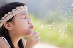 Little girl blowing dandelion Royalty Free Stock Photos