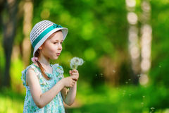 Little girl blowing dandelion Royalty Free Stock Images