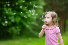 Little girl blowing a dandelion Royalty Free Stock Photography