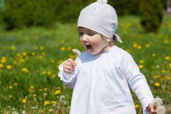 Little girl blowing on a dandelion Royalty Free Stock Photos