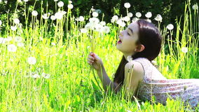 Little girl blowing dandelions Royalty Free Stock Photos