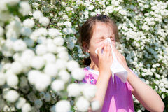 Little girl is blowing her nose. Pollen allergy Royalty Free Stock Photography