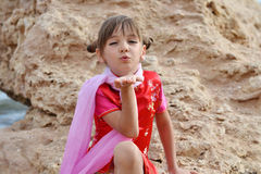 Little girl blowing a kiss Royalty Free Stock Photography