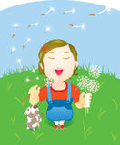 Little Girl blowing off of dandelion Royalty Free Stock Images