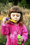 Little girl blowing soap bubbles Stock Photography
