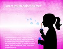 Little girl blowing soap bubbles over abstract pink background. Vector royalty free illustration