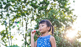 Little girl blowing soap bubbles Royalty Free Stock Images