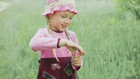 A little girl blows away dandelion. Little girl in a pink hat, a pink sweater and red dress blows away the white dandelion stock footage