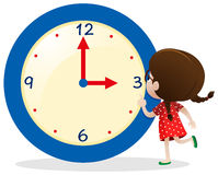 Little girl with blue clock. Illustration Stock Photos