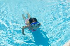 Little girl with blue diving glasses in an outdoor pool. Little girl with blue diving glasses diving in an outdoor pool in summer royalty free stock image