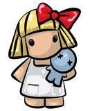 Little girl with blue doll. A little girl holding a blue doll Royalty Free Stock Photo
