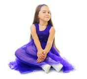 Little girl in blue dress Royalty Free Stock Photos