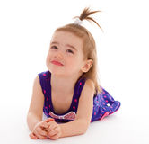 Little girl in a blue dress. Royalty Free Stock Photography