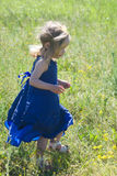 Little girl in a blue dress runs on a meadow Stock Images