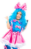 Little girl  with blue hair Royalty Free Stock Photography