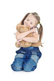 Little girl in blue jeans Royalty Free Stock Image
