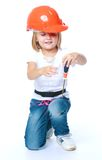 Little girl in blue jeans. Stock Photography