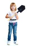 Little girl in blue jeans. Royalty Free Stock Images