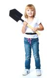 Little girl in blue jeans. Royalty Free Stock Photos