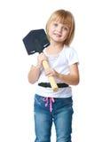 Little girl in blue jeans. Stock Image