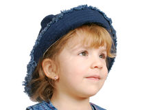 Little girl with blue jeans hat Stock Photos