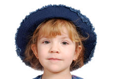 Little girl with blue jeans hat Stock Photo