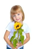 Little girl in blue jeans. Royalty Free Stock Photography