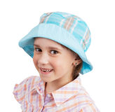 Little girl in blue panama Royalty Free Stock Image