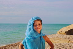 Little girl in blue pareo Royalty Free Stock Photography