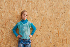 Little girl in blue pullover laughing Royalty Free Stock Photo