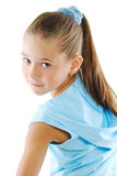 Little girl in blue sportswear. Little girl beauty portrait isolated on white Stock Photos