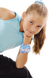 Little girl in blue sportswear. Little girl in role of gymnastics instructor Royalty Free Stock Photo