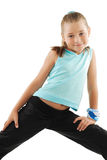 Little girl in blue sportswear. Little girl in role of gymnastics instructor Royalty Free Stock Photography