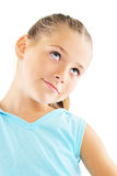 Little girl in blue sportswear. Portrait of little girl in blue sportswear on white background Royalty Free Stock Image