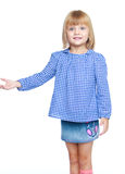 Little girl in a blue suit. Royalty Free Stock Photos