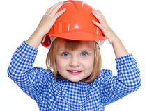 Little girl in a blue suit. Stock Photo