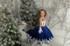 Little girl in a blue velvet dress Royalty Free Stock Photo