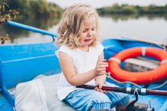Little girl in the boat Royalty Free Stock Image