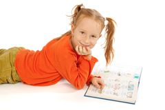Little girl with book Stock Photography