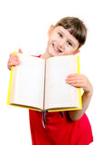 Little Girl with the Book. Cheerful Little Girl with a Book Isolated on the White Background Stock Photography