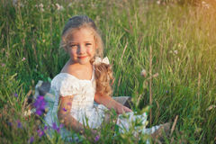 Little girl with a book in her hands on a meadow in a summer day. Royalty Free Stock Photos