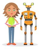 Little Girl with Book and Iron Robot illustration Royalty Free Stock Image