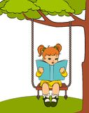 Little girl with book on the swings Stock Photos