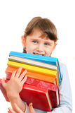 Little Girl with a Books Stock Image