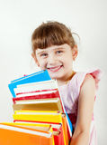 Little Girl with the Books Stock Image
